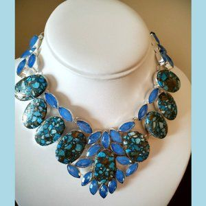 Jewelry - Copper Blue Turquoise Milky Opal Gem Necklace NWOT